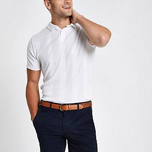 White rib muscle fit polo shirt