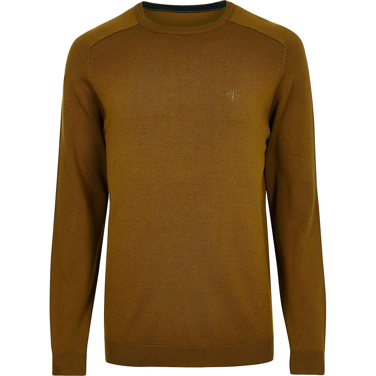 Mustard wasp embroidered slim fit sweater