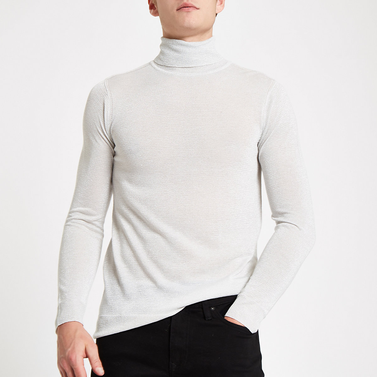 Silver metallic roll neck slim fit jumper