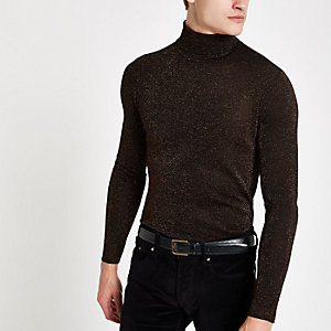 Bronze metallic roll neck slim fit sweater