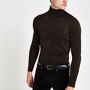 Bronskleurig metallic slim-fit pullover met col