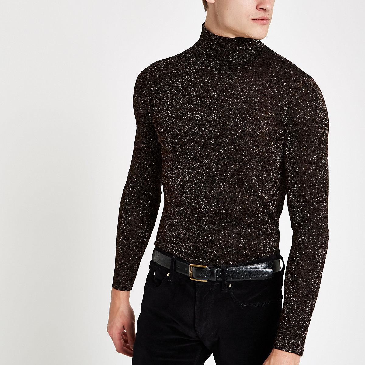 Bronze metallic roll neck slim fit sweater