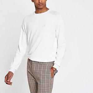 Ecru slim fit wasp embroidered sweater