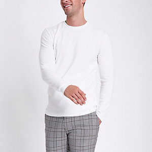 Ecru slim fit textured long sleeve top