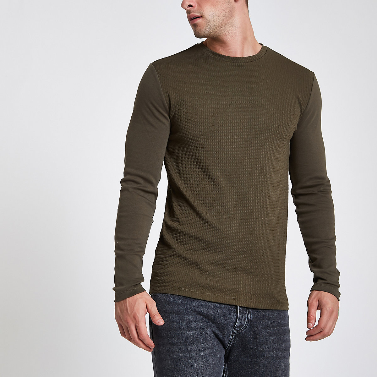 Khaki green slim fit long sleeve top