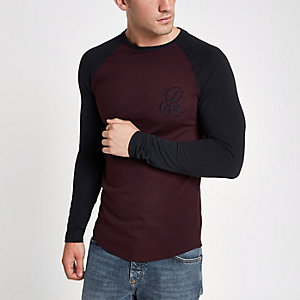 Dark red muscle fit raglan T-shirt
