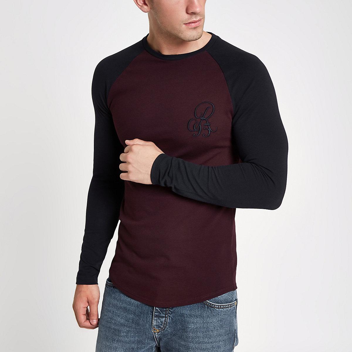 Dark red muscle fit raglan T-shirt