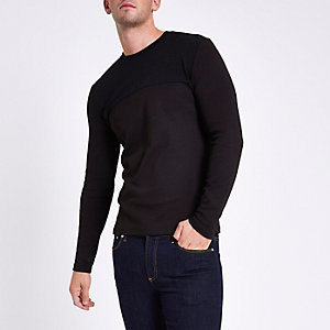 Black slim fit textured crew neck sweater