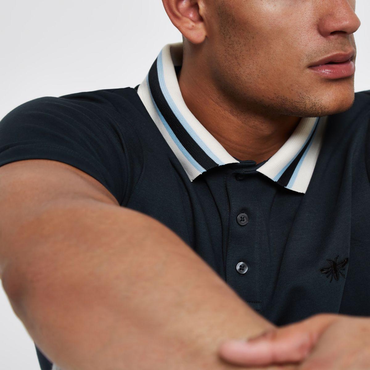 Navy slim fit striped collar polo shirt
