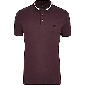 Slim Fit Polohemd in Bordeaux mit gestreiftem Kragen