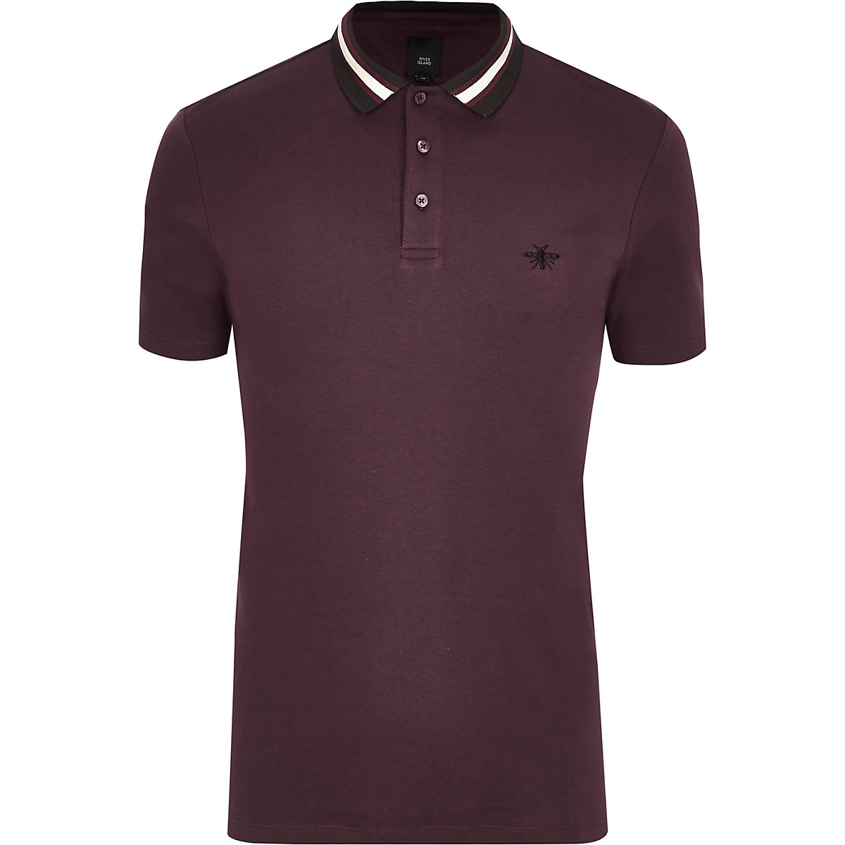 ​Burgundy slim fit striped collar polo shirt