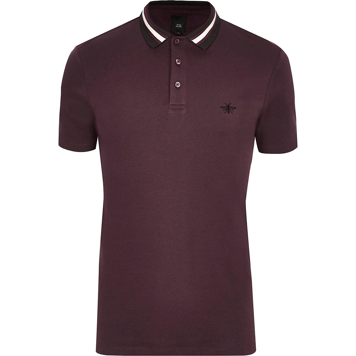 Burgundy slim fit striped collar polo shirt
