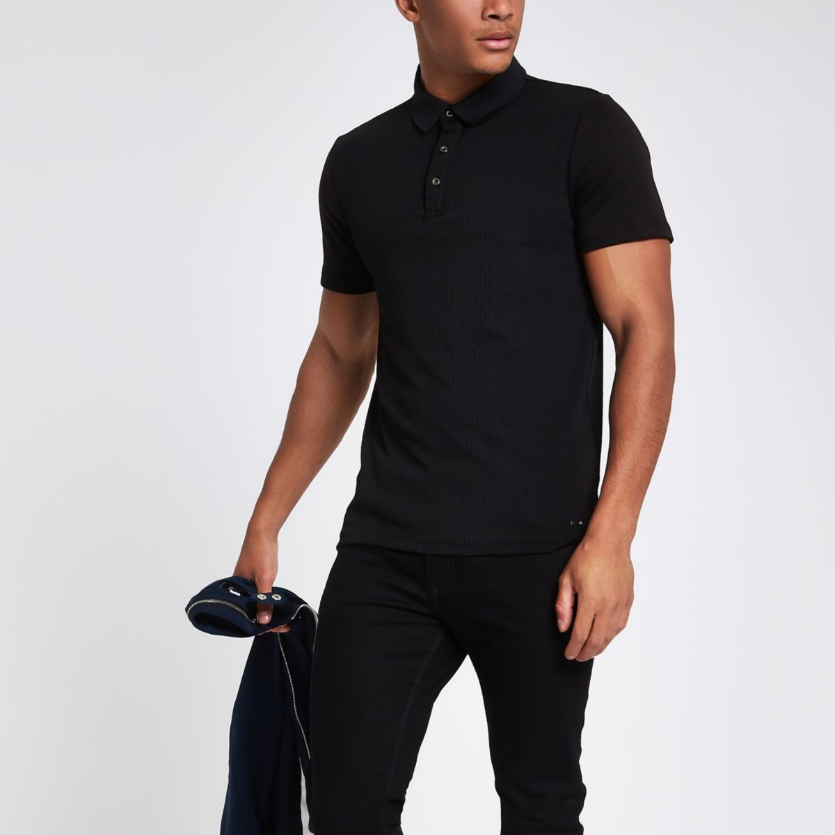 Black slim fit polo shirt