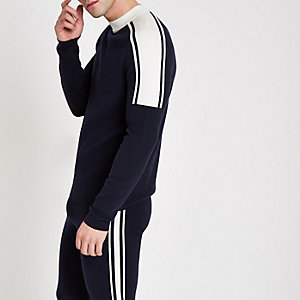 Marineblauer, langärmliges Slim Fit Pullover