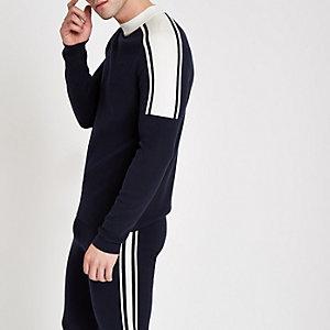 Marineblauwe slim-fit pullover met col en lange mouwen