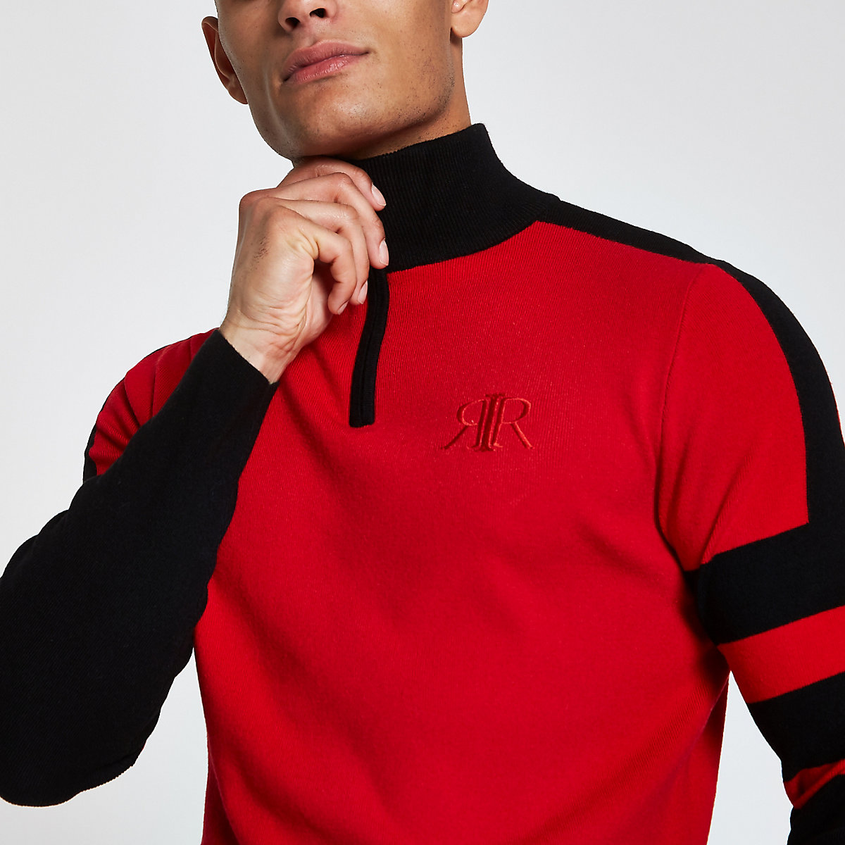 Red color block slim fit zip front sweater
