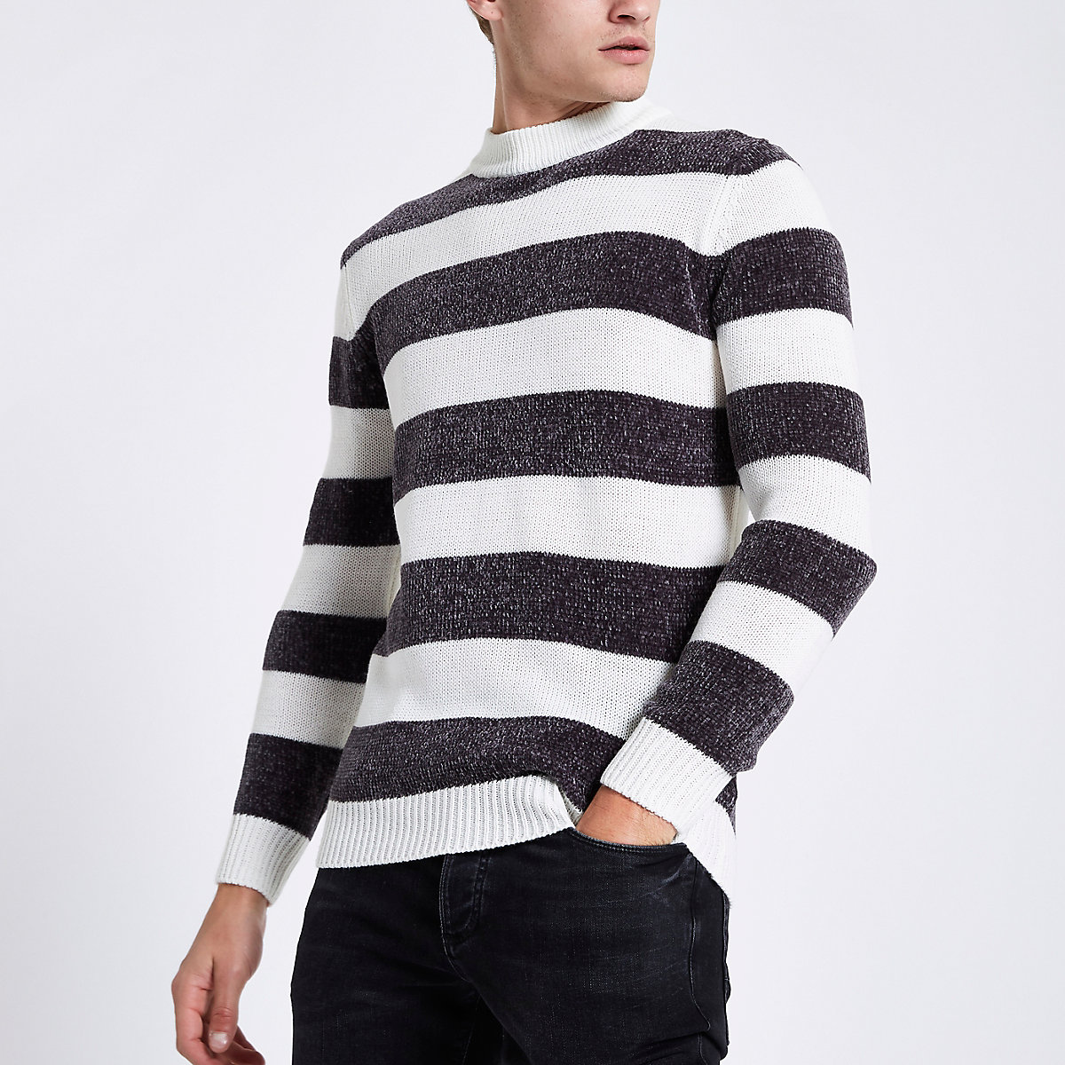 Cream stripe slim fit chenille knit jumper