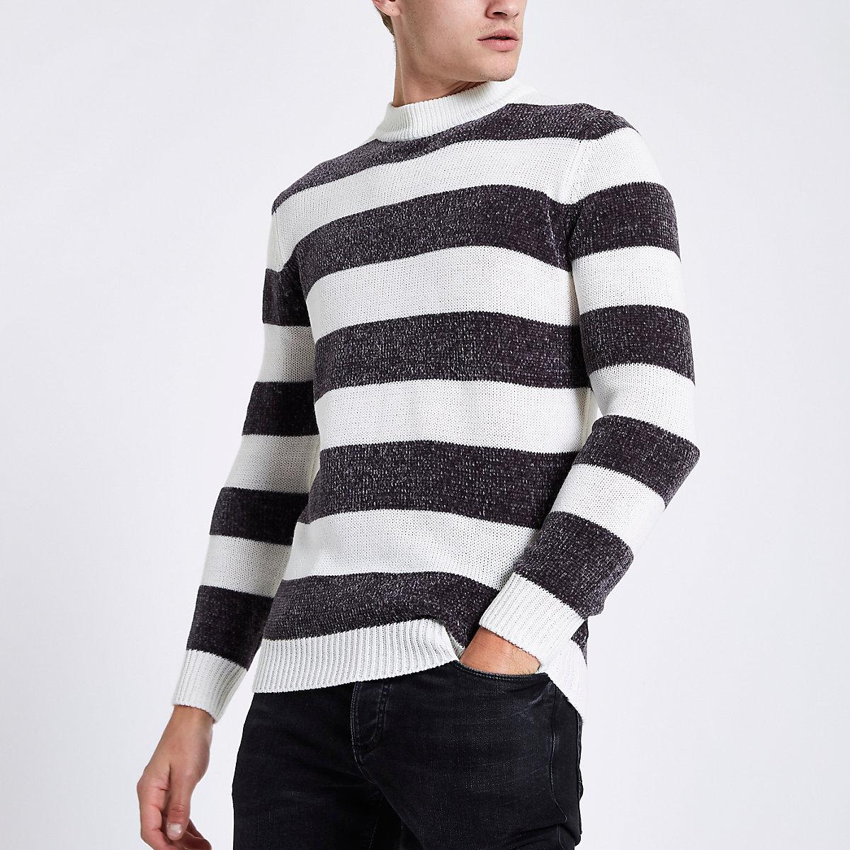 Cream stripe slim fit chenille knit sweater