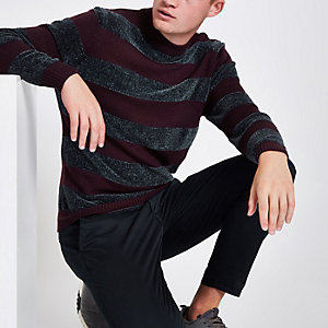 Purple stripe slim fit chenille knit sweater