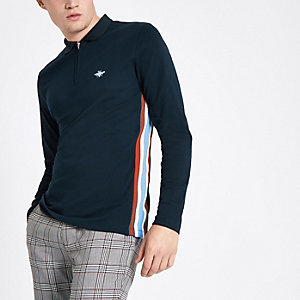 Polo slim bleu marine zippé à manches longues avec bandes latérales