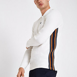 Ecru slim fit zip tape long sleeve polo shirt