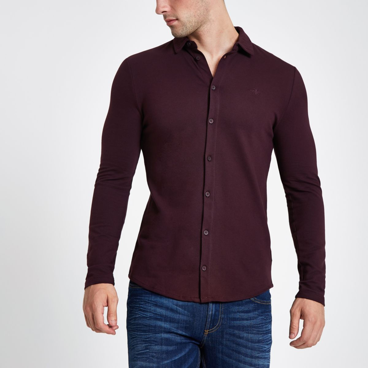 Dark red pique muscle fit long sleeve shirt