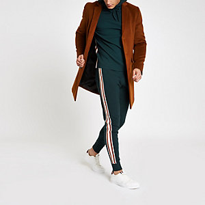 Green tape side slim fit joggers