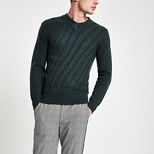 Green cable knit slim fit sweater