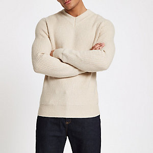 Ecru fisherman rib slim fit jumper