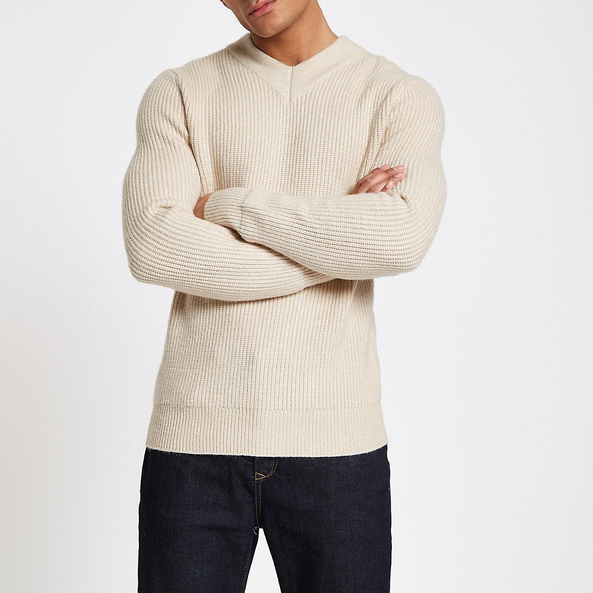 Ecru fisherman rib slim fit sweater