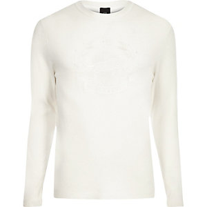 Ecru embroidered slim fit long sleeve sweater