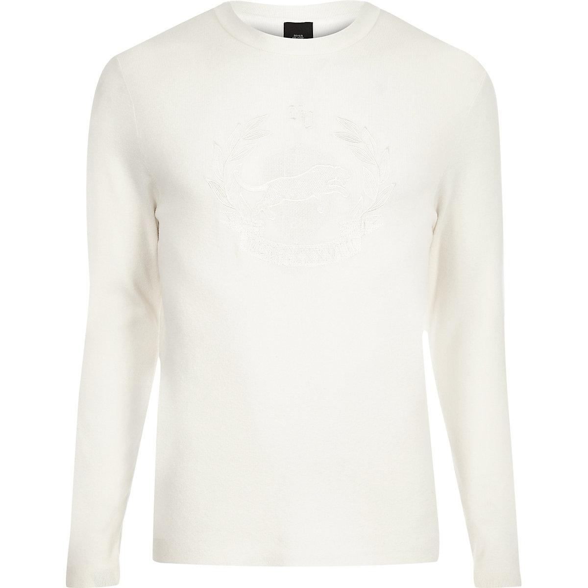 Ecru embroidered slim fit long sleeve jumper