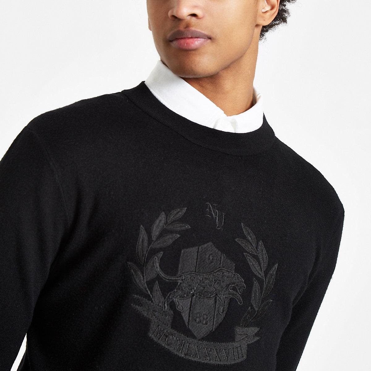 Black embroidered slim fit long sleeve jumper