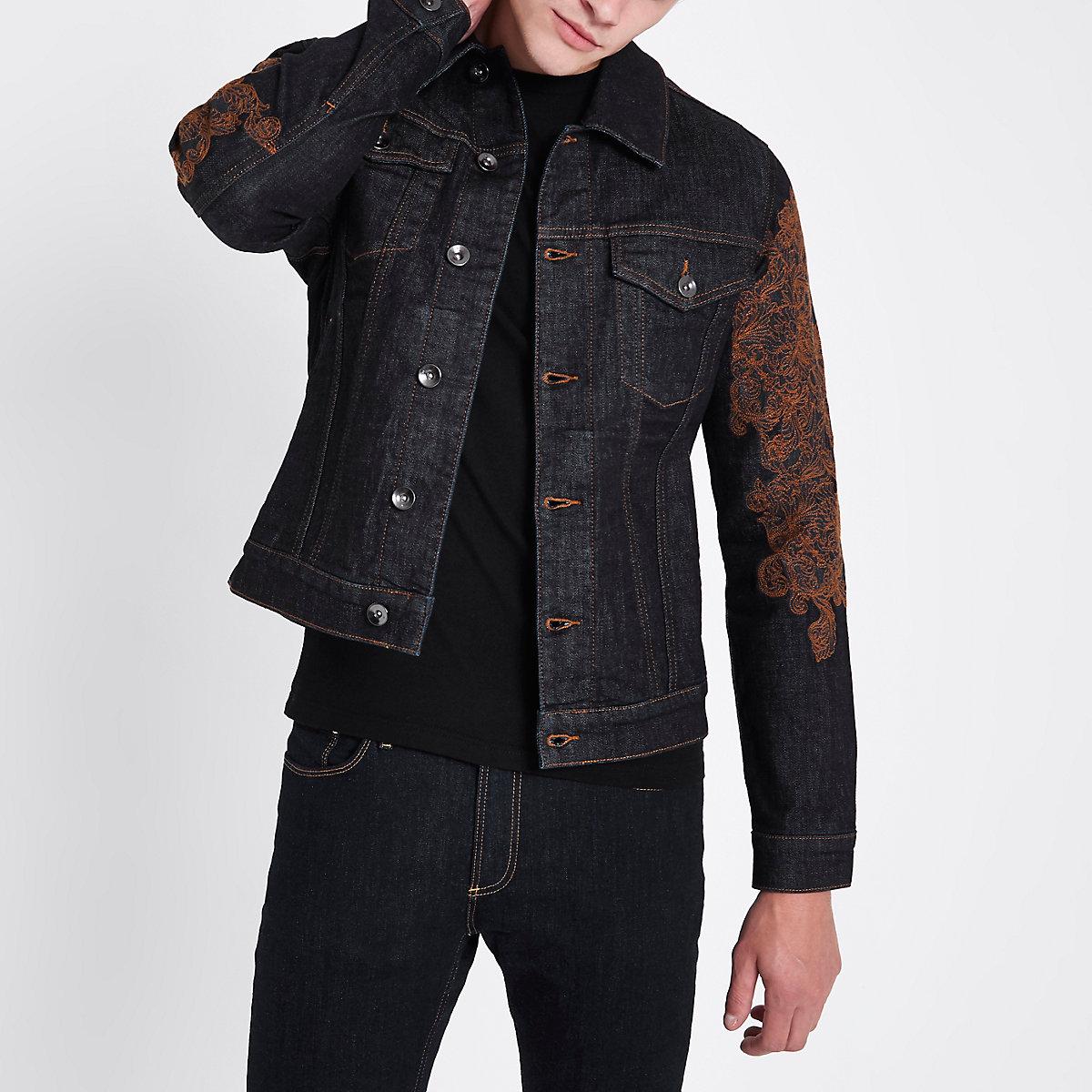Ri 30 Blue Embroidered Denim Jacket Jackets Coats Jackets Men