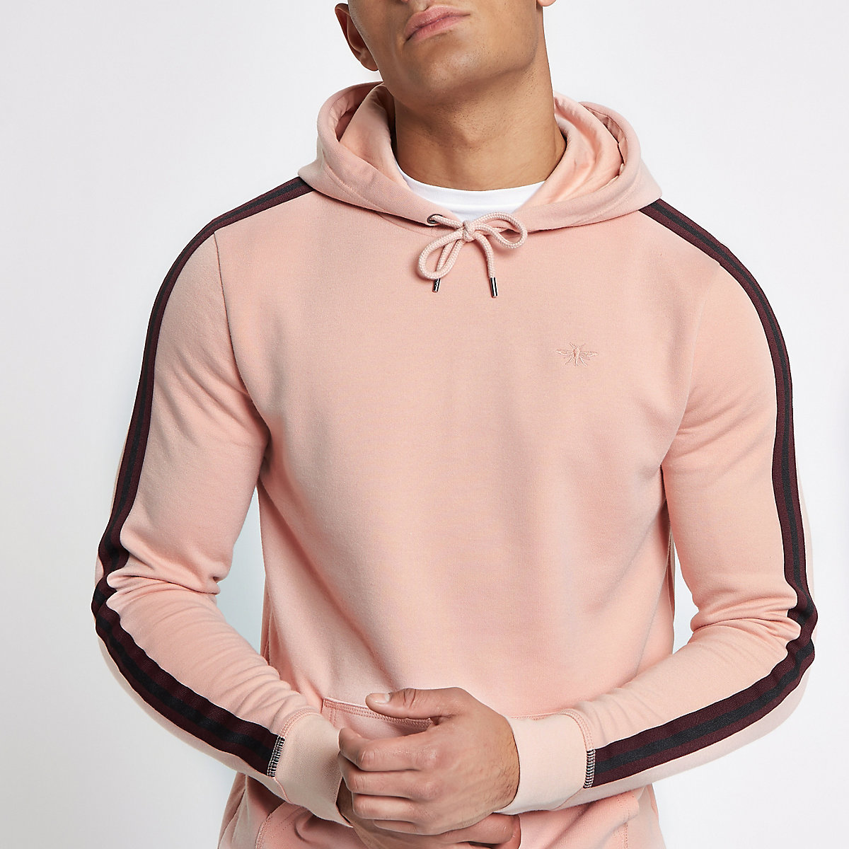 Pink tape side slim fit hoodie