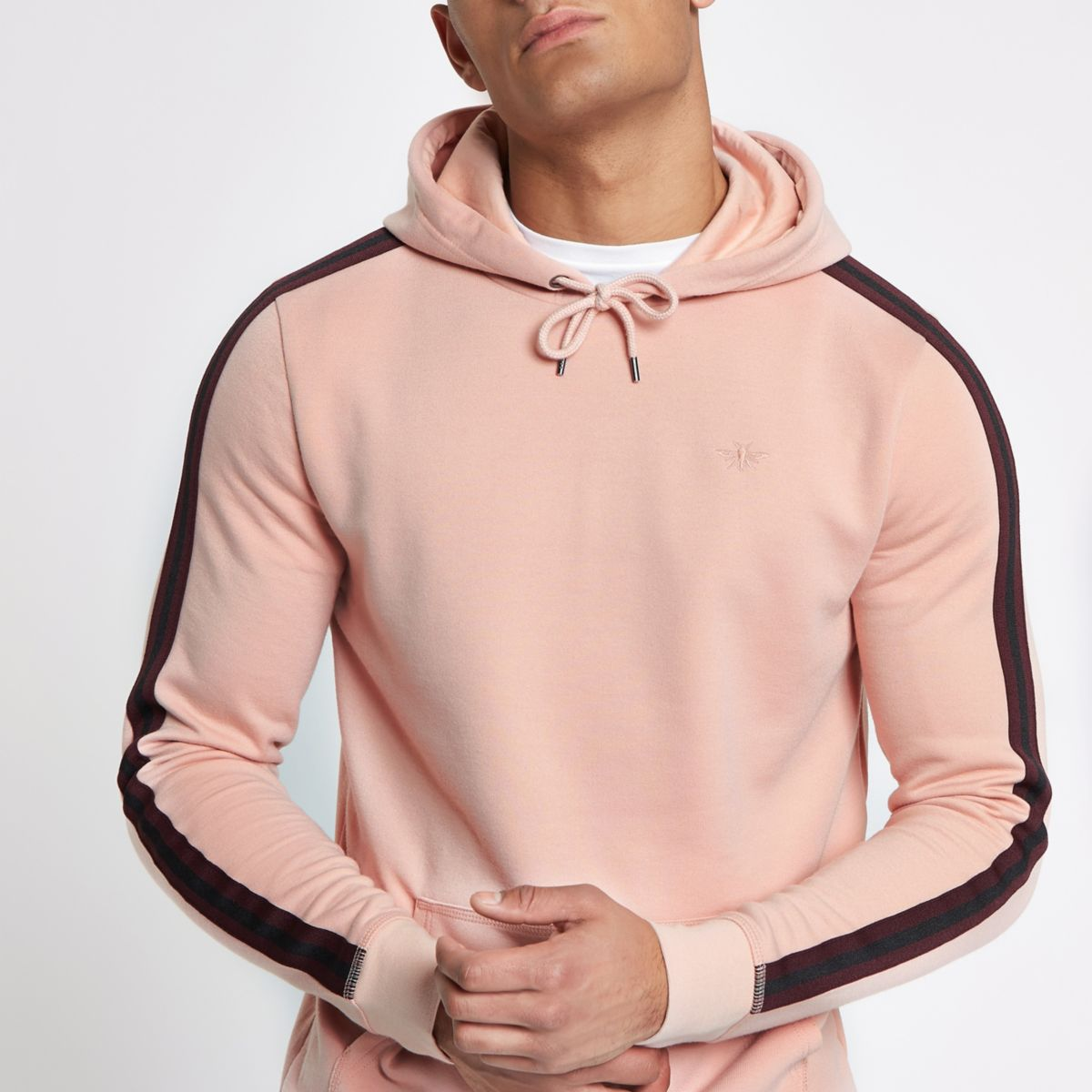 Pink tape side slim fit hoodie