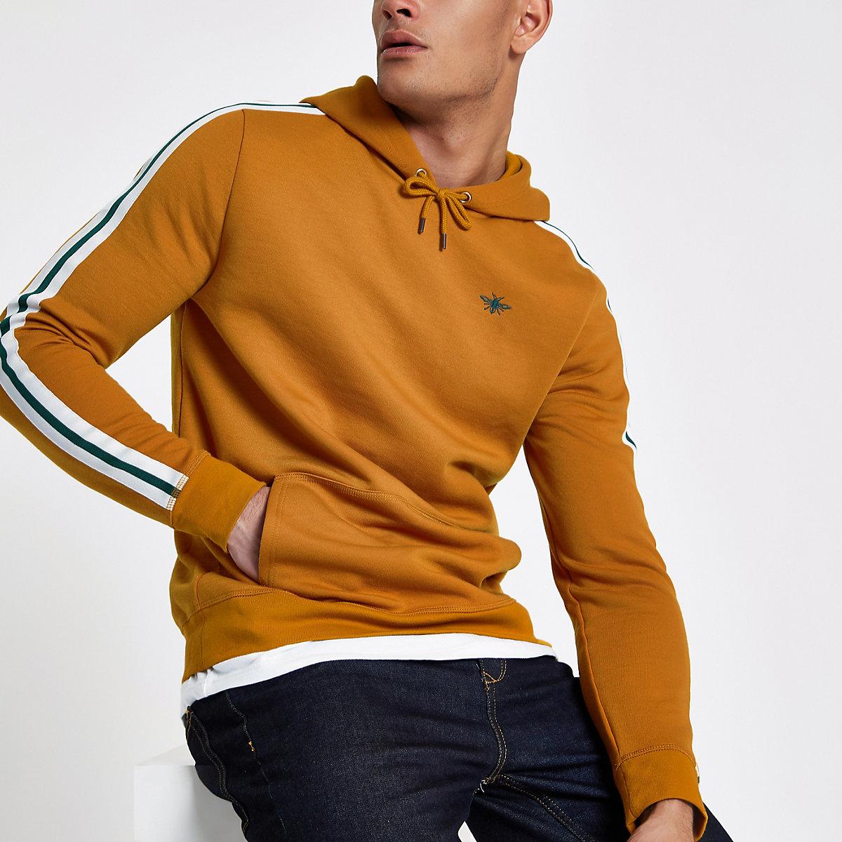 Yellow tape side slim fit hoodie