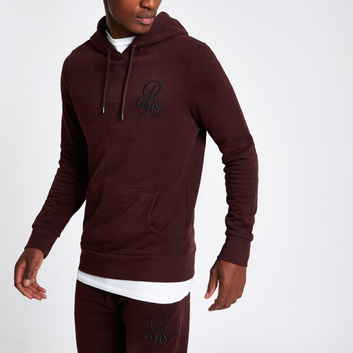 Dark red 'R96' muscle fit hoodie