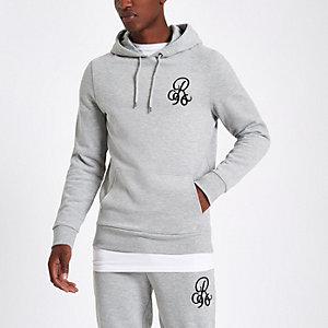 Grey 'R96' muscle fit hoodie