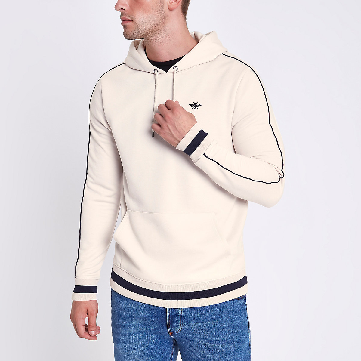Stone wasp embroidered slim fit tipped hoodie