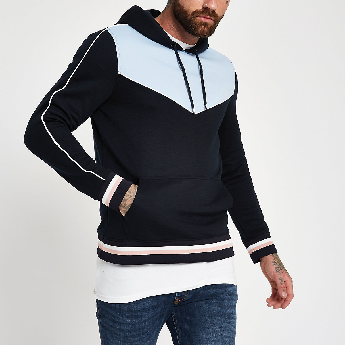Blue slim fit piped hoodie