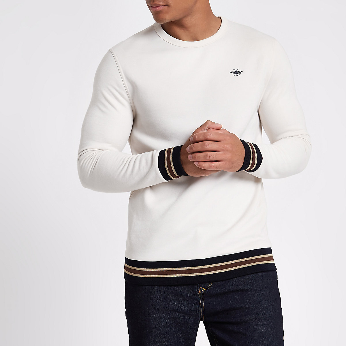 Cream wasp embroidered tipped sweatshirt