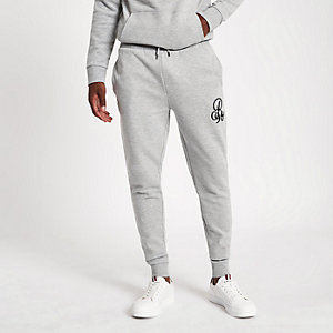 Grey marl 'R96' muscle fit joggers