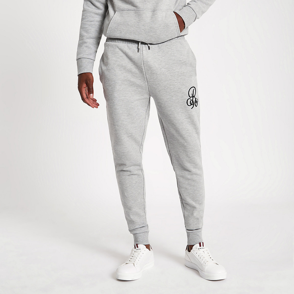 R96 grey marl muscle fit joggers