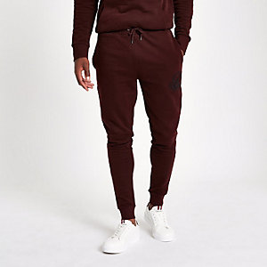 Dark red R96 muscle fit joggers