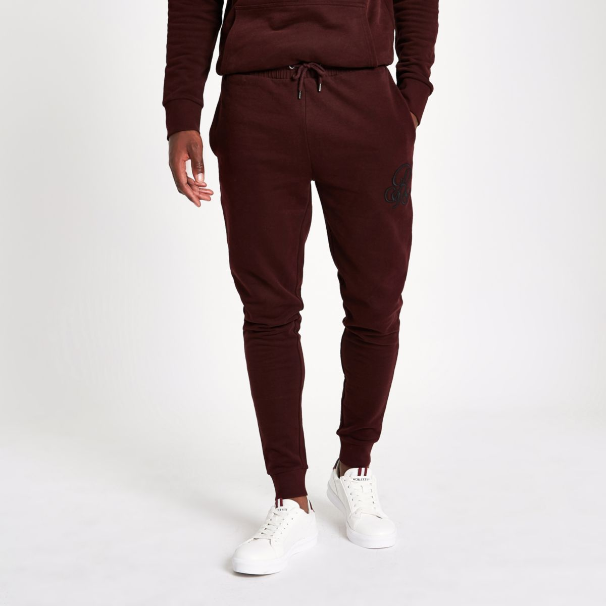 Dark red 'R96' muscle fit joggers
