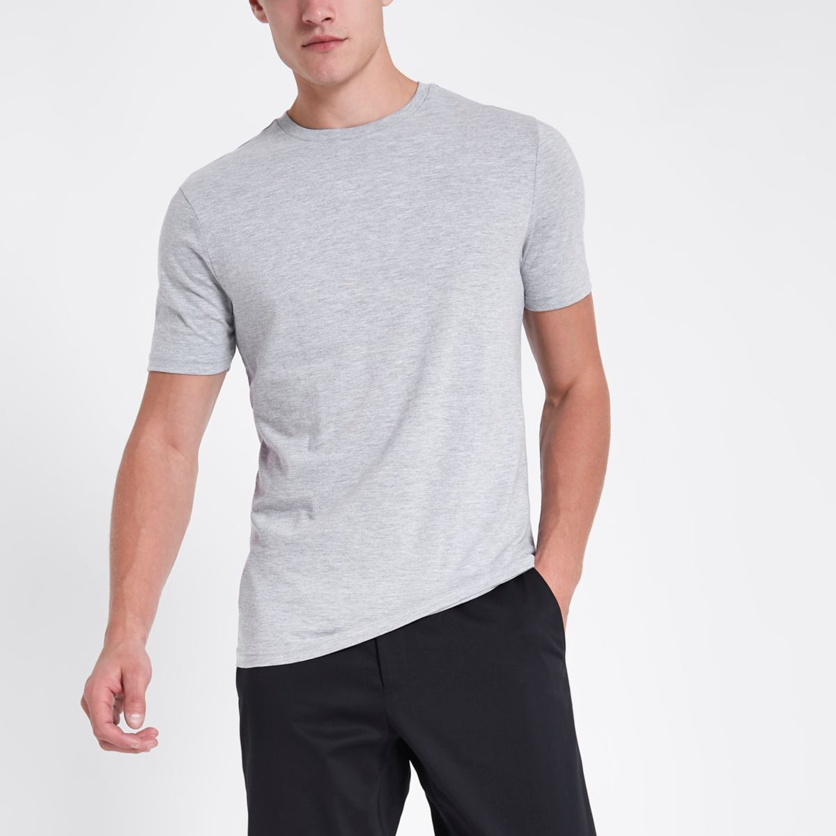 Grey marl slim fit crew neck T-shirt