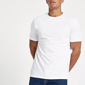 "Weißes, kurzärmliges Slim Fit T-Shirt ""96"""