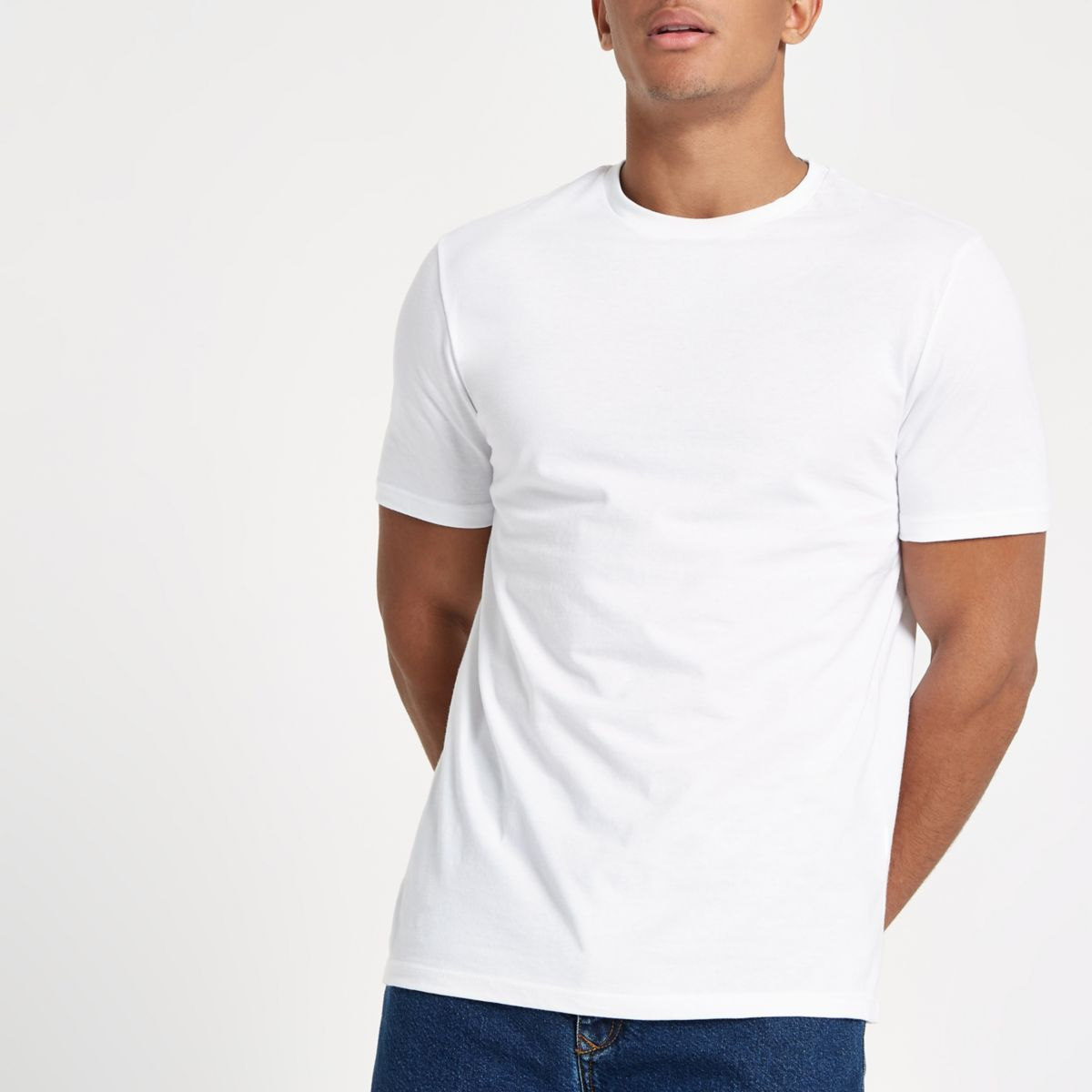 White 'R96' slim fit short sleeve T-shirt