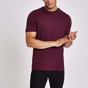 Dark red 'R96' slim fit short sleeve T-shirt